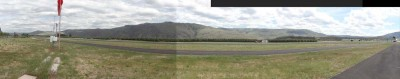 Lake Chelan airport taxi and runway panoramic